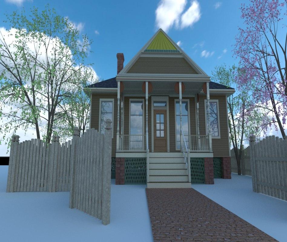 3D house tree fence model