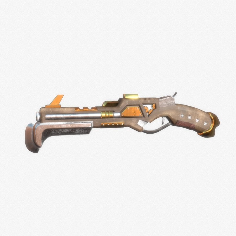 steampunk pistol 3D model