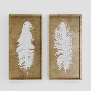 3D model uttermost white feathers gold