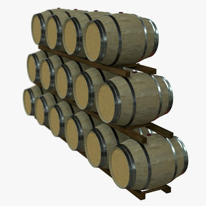 wine barrel rack pbr 3D