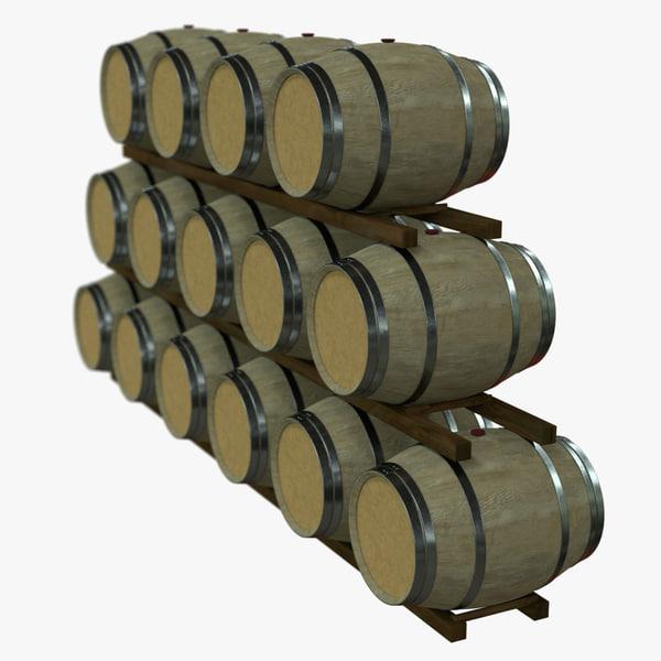 wine barrel rack pbr 3D