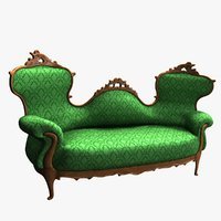 victorian double-spoonback sofa 3D model