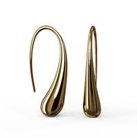 gold earrings waterdrop shape 3D model