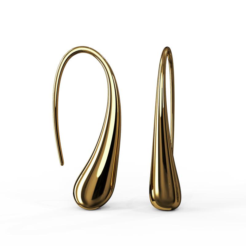 gold earrings waterdrop shape 3D model