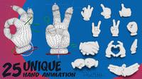 3D 25 hands animation toon skin