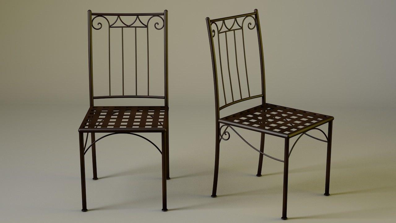 silla hierro forjado 3D model