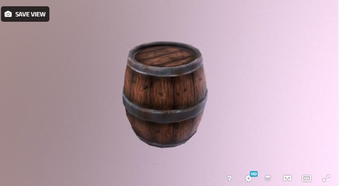 low-poly barrel model