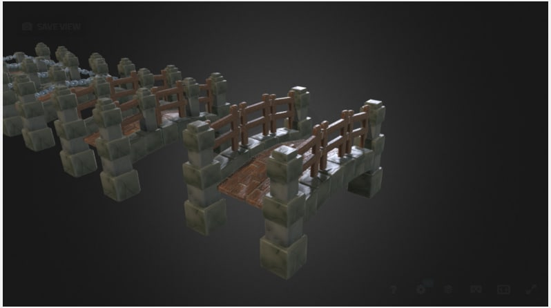 bridge low-poly handpainted 3D model