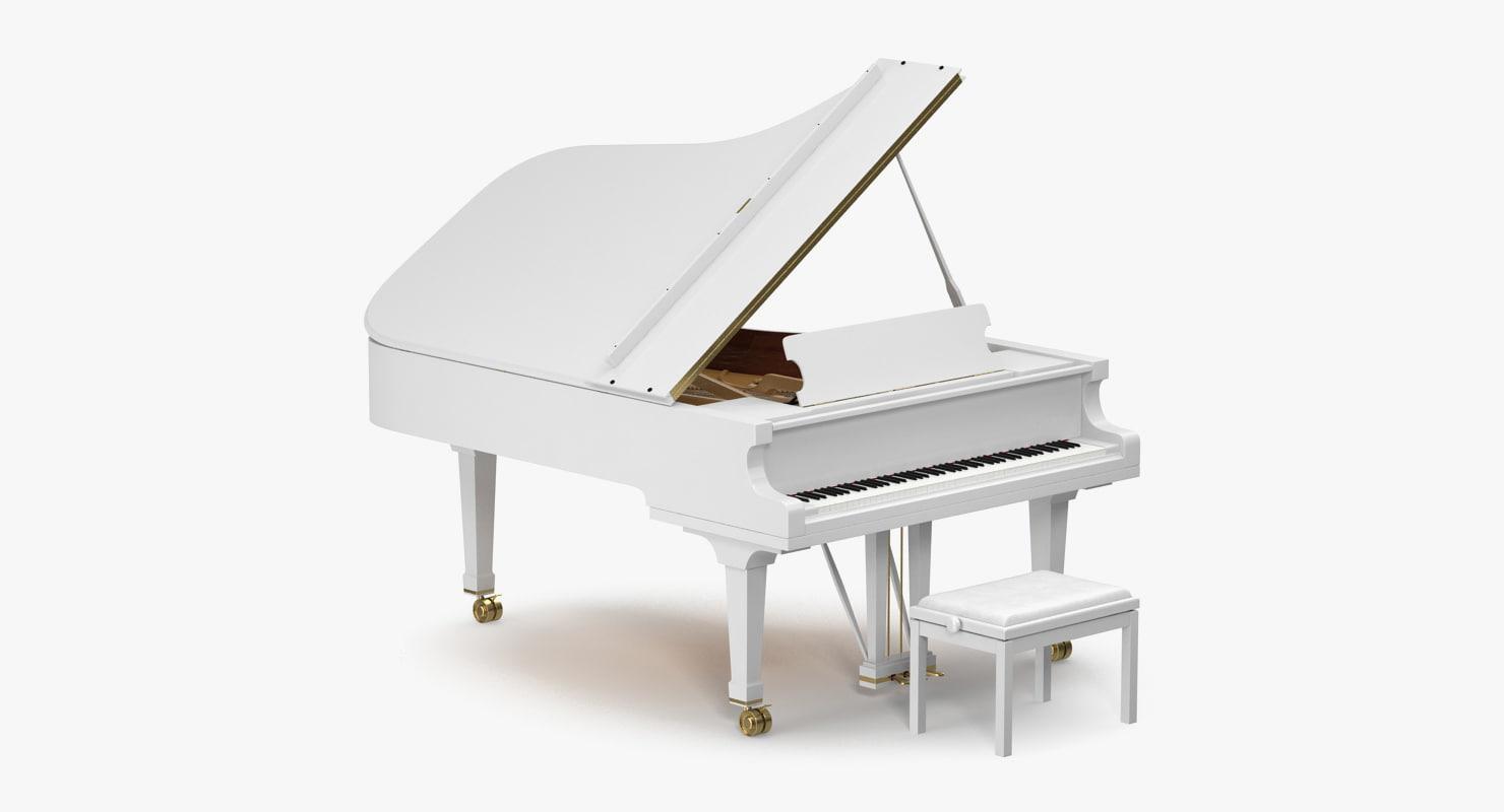 3D White Grand Piano Bench