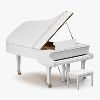 White Grand Piano with Bench