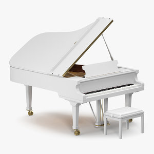 3D white grand piano bench