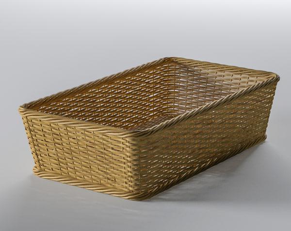 3D wicker basket square