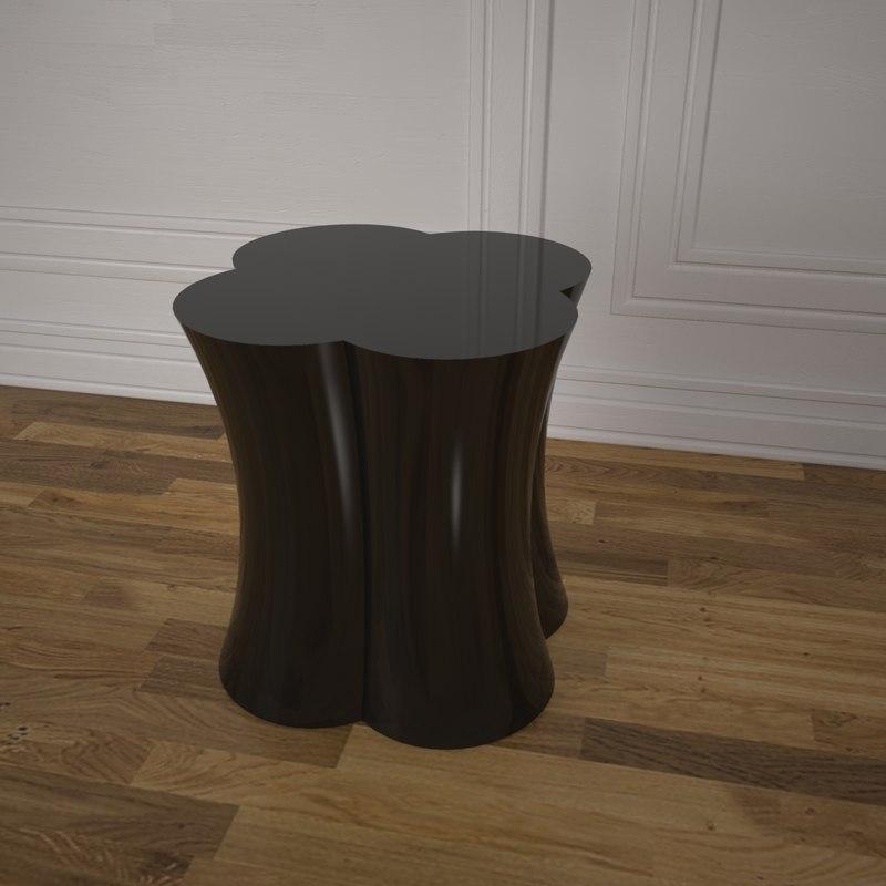3D stump bronze stool
