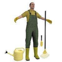 3D gardener worker man model