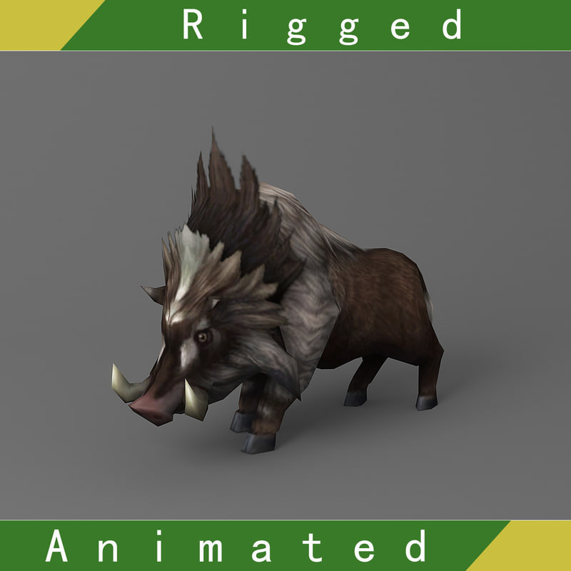 wild boar rigged animations 3D model