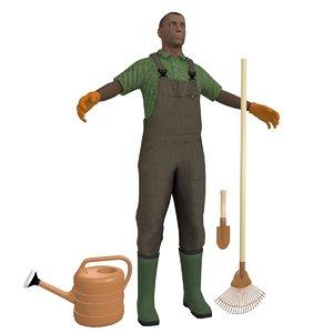 3D model gardener man