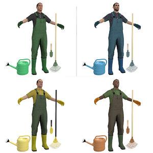 gardener man 3D model