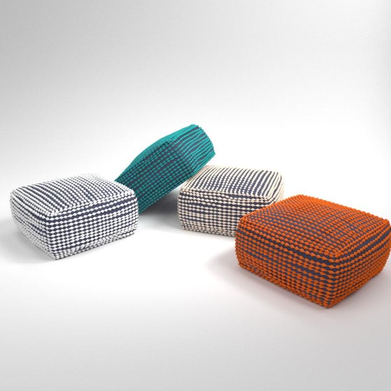 interior pouf rococo 3D model
