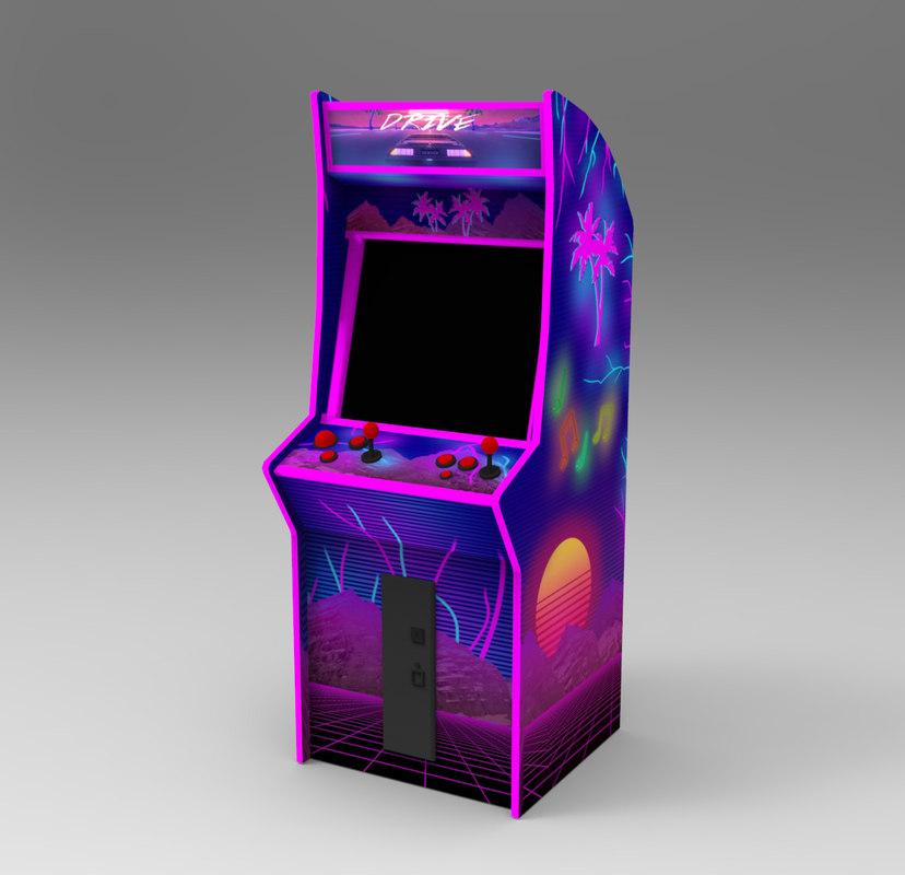 80 s neon arcade machine 3D