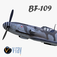 3D model BF-109 German fighter V-Ray materials(2)
