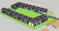 3D 3story complex building house model