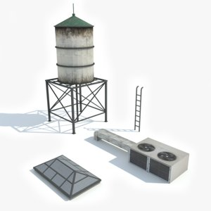 3D model ready rooftop elements