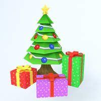 cartoon christmas tree model