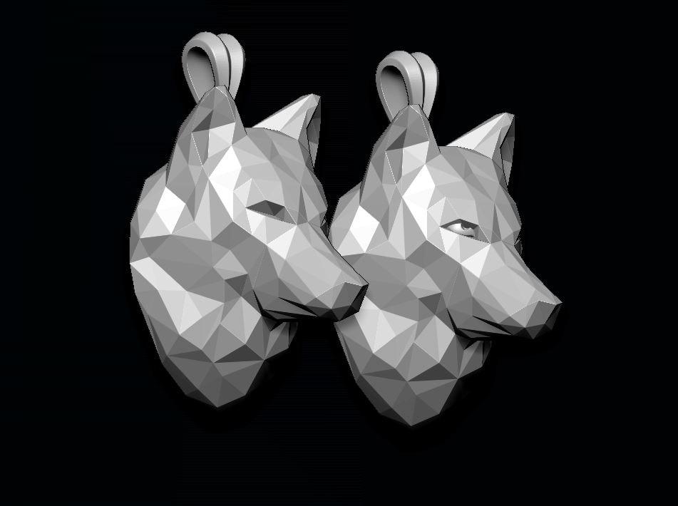 3D pendant wolf