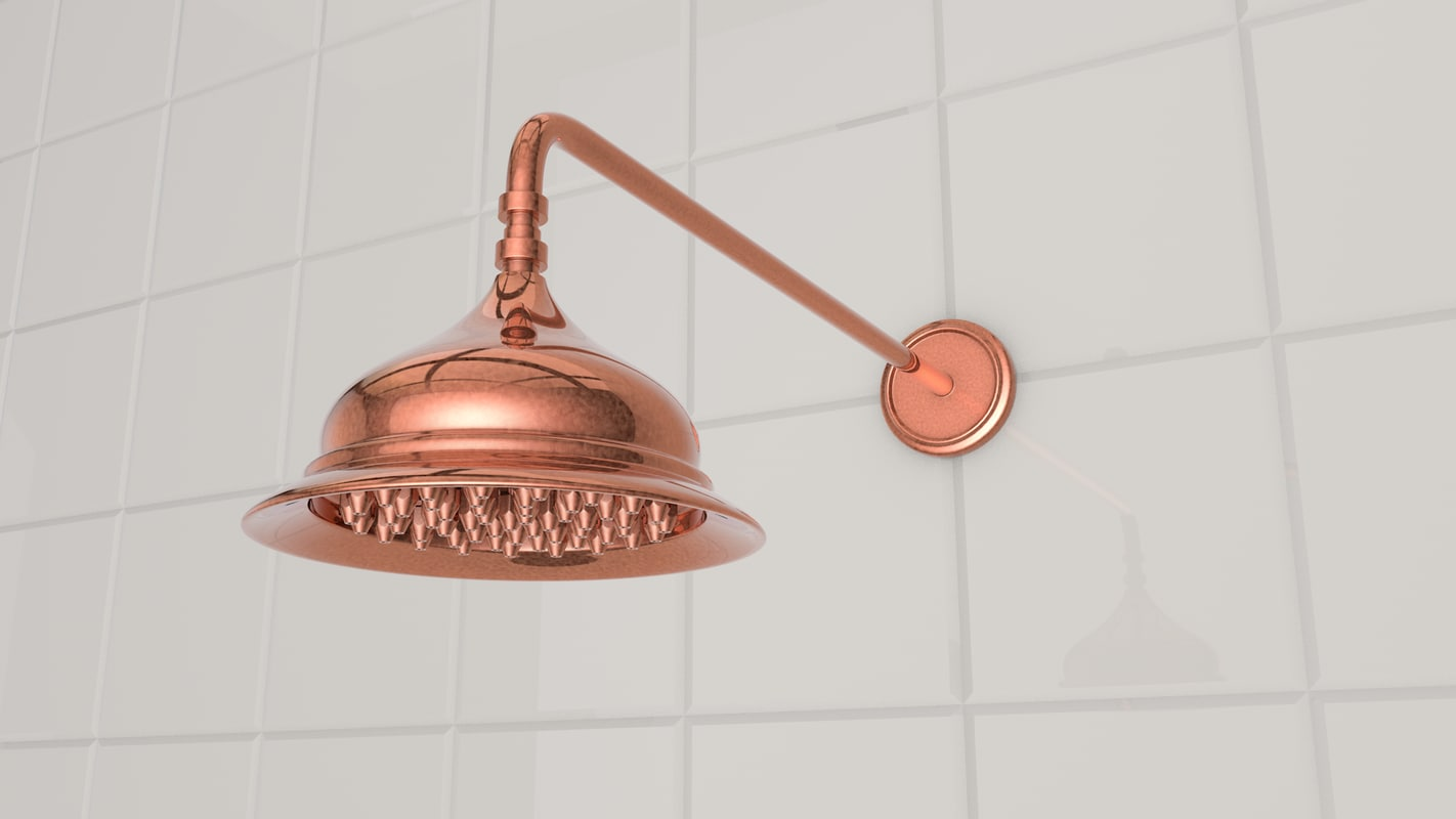 3D model retro shower head