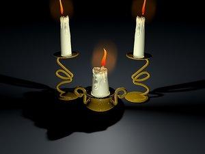 3D melting candle sticks model