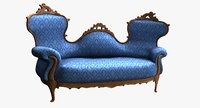 victorian double-spoonback sofa blue 3D model