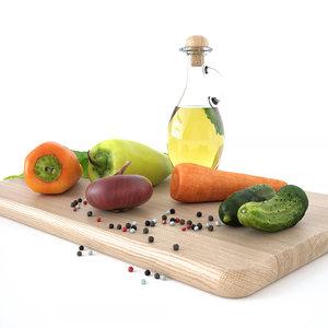 kitchen decore set vegetables 3D
