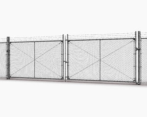 american industrial fence 3D