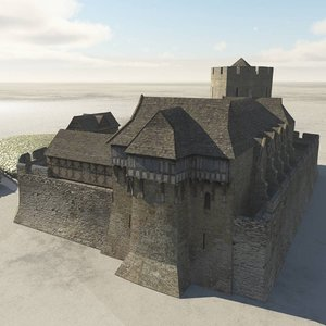fortified manor fantasy medieval model