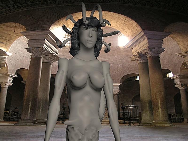 3D greek statue medusa