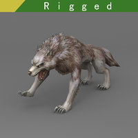 3D wolf rigged model
