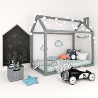 3D house bed children