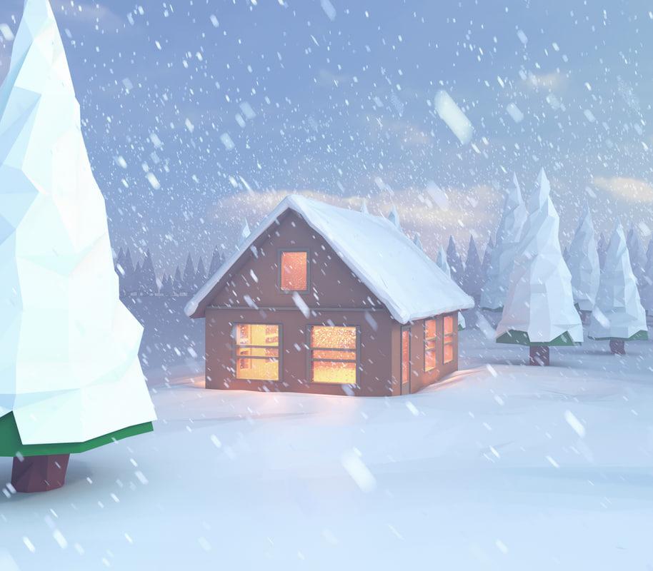 3D scene snowy house lake
