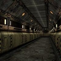 sci-fi spaceship corridor segment 3D