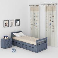 bed children bedroom 3D model