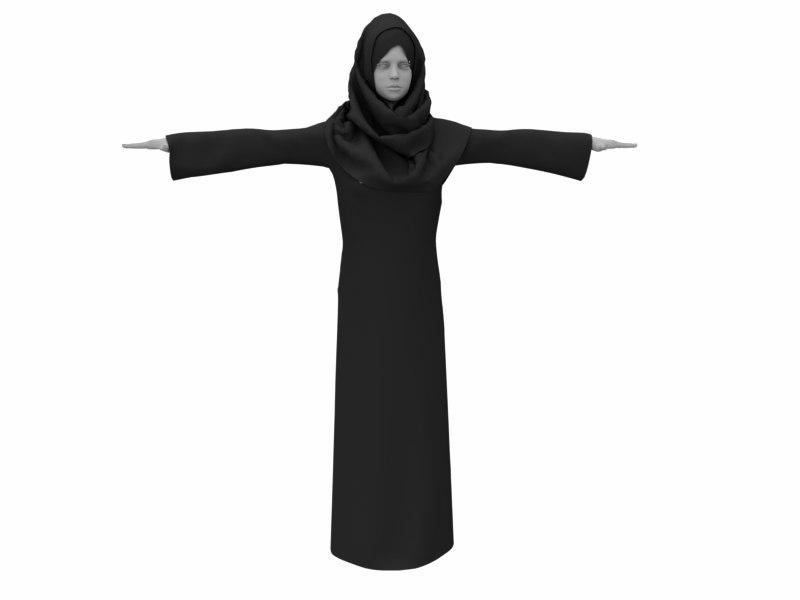 3D arab women clothing