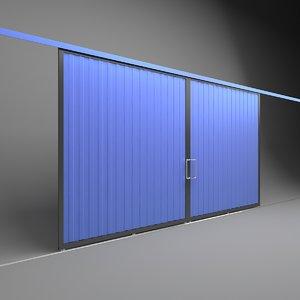 factory sliding door warehouses 3D