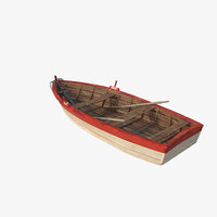 3D old boat lost sea