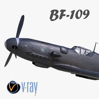3D model BF-109 German fighter V-Ray materials