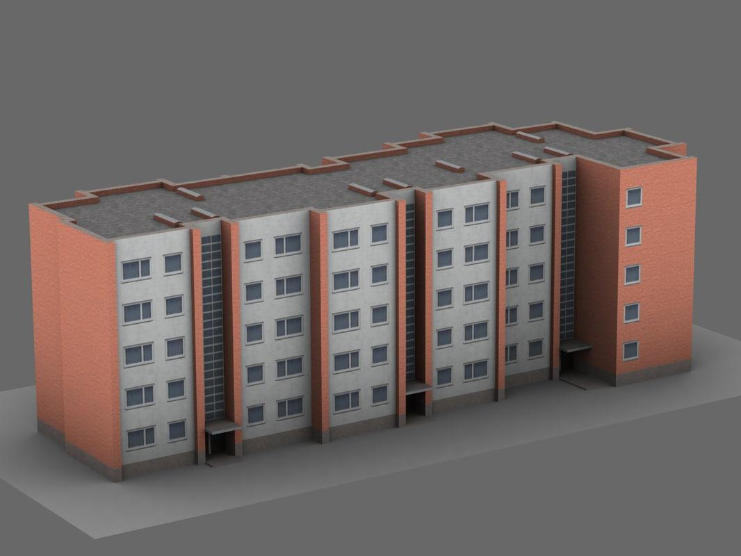 3D soviet 5-story apartment building