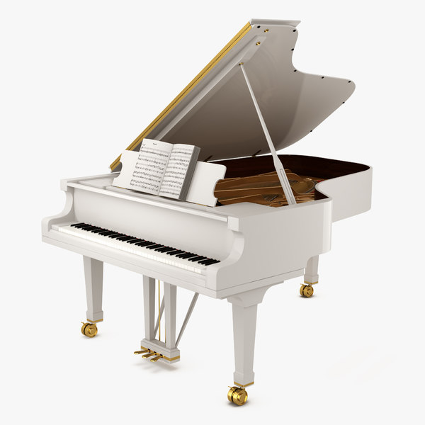 grand piano white music notes 3D model