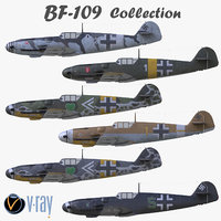 Collection 3D model BF-109 German fighter VRay materials