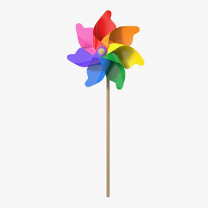 3D model pinwheel rainbow