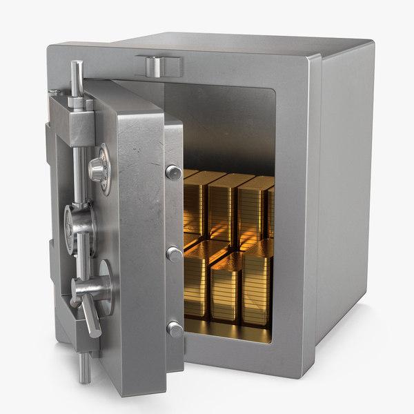 steel safe gold bars 3D