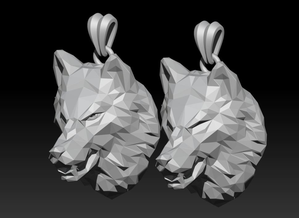 3D angry wolf model